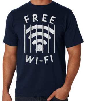 Free WiFi Parody Funny Prison Internet Joke Novelty Computer Geek Tech T Shirt