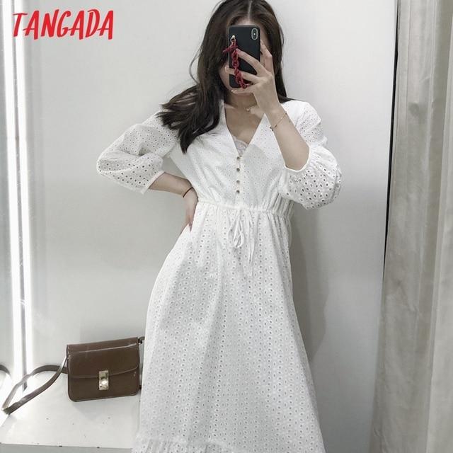Tangada 2021 Summer Women White Embroidery Romantic Dress V Neck Short Sleeve Ladies Midi Dress Vestidos  3H184 2