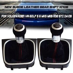 Image 2 - Pomo de cambio de marchas de cuero, cubierta de maletero de Polaina, 5 y 6 velocidades, para Volkswagen VW Golf 5, 6, MK5, MK6, R32, GTI, 2006 2012