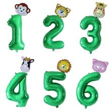 30 дюймов зеленый номер фольгированные шары мини лесных животных баллон обезьяна жираф зебра рисунок 1 2 3 года дети мальчик девочка день рожд...