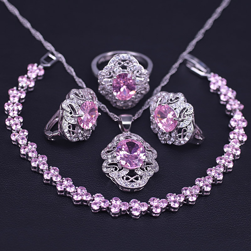 Princess Pink Silver Color Costume Jewelry Set For Women Romantic Rome Bracelet Necklace Ring Earrings Bridal Jewelry