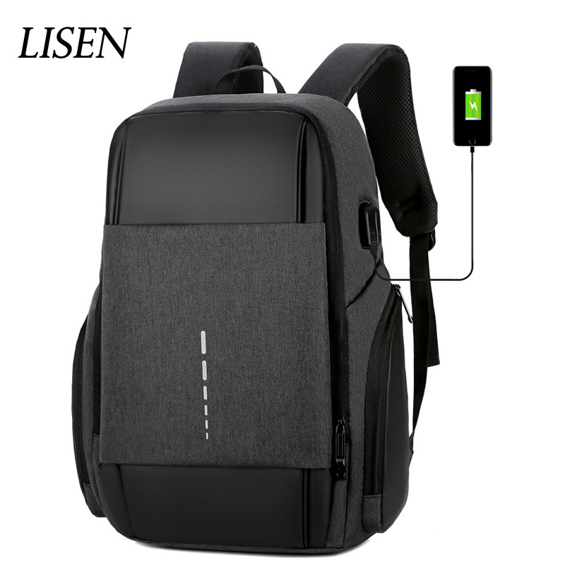 Men Light Strips Travel Safely Backpack USB Charging Laptop Bag 14 15 15.6 17.3 Waterproof Portable Notebook High Capacity Bags