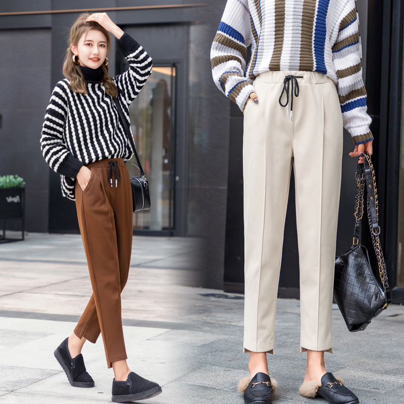 Women Wool Pant 2019 Autumn Winter Fashion Female Thick Warm Elastic Waist Loose Woolen Harem Pant Casual Trousers Plus Size 5XL