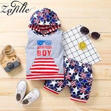 Zafile bebê crianças 4th de julho roupas meninos americano óculos de sol impressão topo + estrelas calças terno crianças menino roupas conjunto