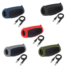 1pc Pouch Sleeve Silicone Case Cover Protective Skin With Strap Carabiner for JBL Charge 5 Bluetooth Speaker