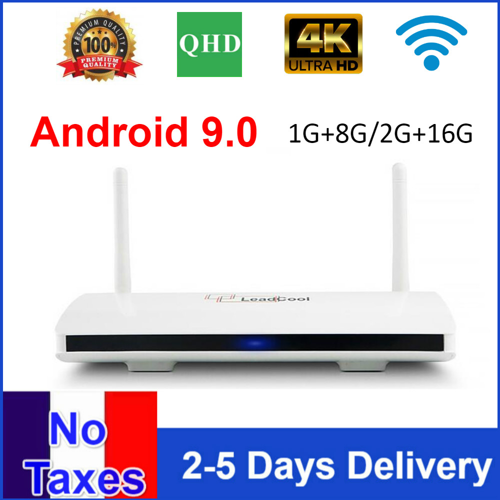 Leadcool-dispositivo de TV inteligente QHDTV con Android 9,0, 8 GB, 16GB, AMLOGIC S905W, quad core, leadcool, Set Android