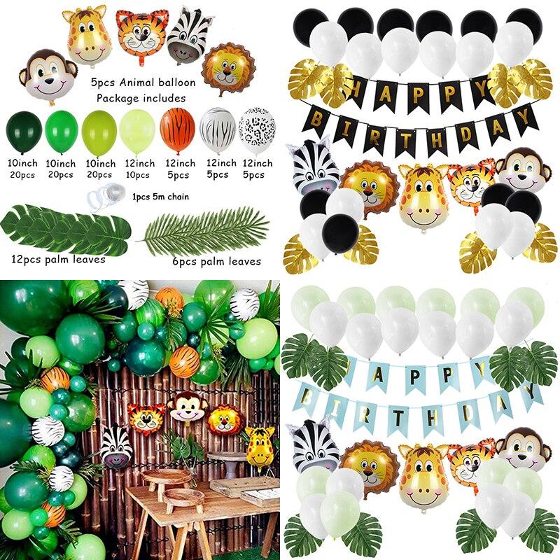 Животное шар гирлянда день рождения для вечеринки в стиле сафари Джунгли Тема Вечеринка балон День рождения украшения Дети воздушный шар ...