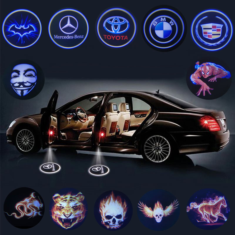 2pcs Universal Wireless Led Car Door Welcome Laser Projector Logo Ghost Shadow Light Car Styling Courtesy Lights Car Accessories