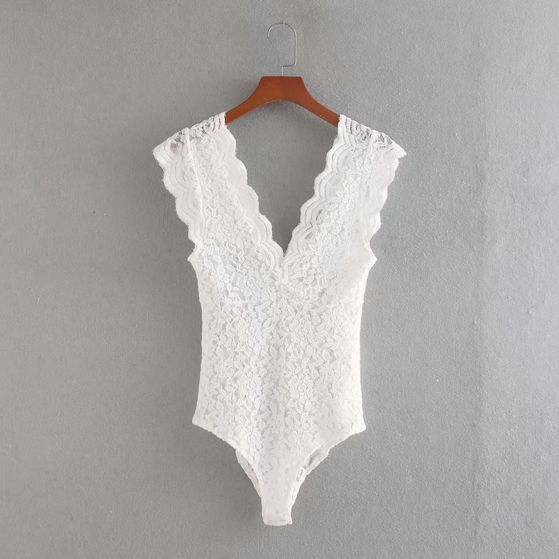 New 2020 Women Sexy Sleeveless Black White Color Lace Slim Bodysuit Chic Siamese Blouse Female Perspective Playsuits Blusas