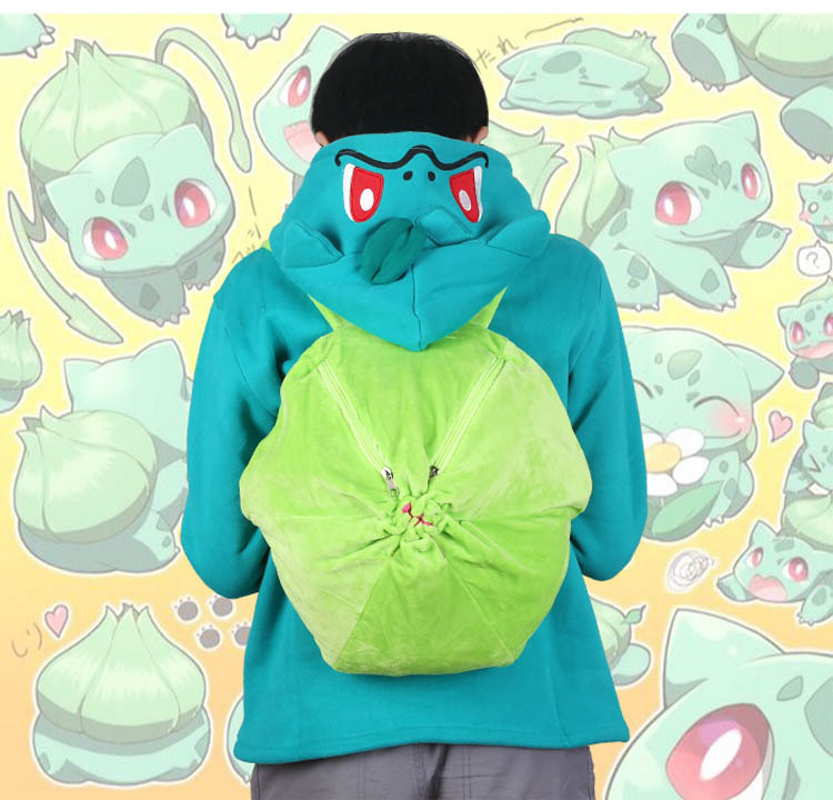 Cartoon Anime Pokemon Peripheral Backpack Bulbasaur Cosplay Props Accessories Plush Backpack Traveling Backpack School Bag
