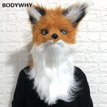 Маска с животными голова лисы длинные волосы открытым ртом талисман