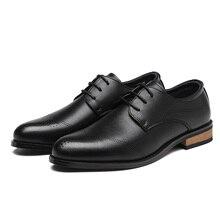 2020 erkek elbise ayakkabı el yapımı Brogue tarzı parti deri düğün ayakkabı erkekler Flats deri Oxfords resmi ayakkabı