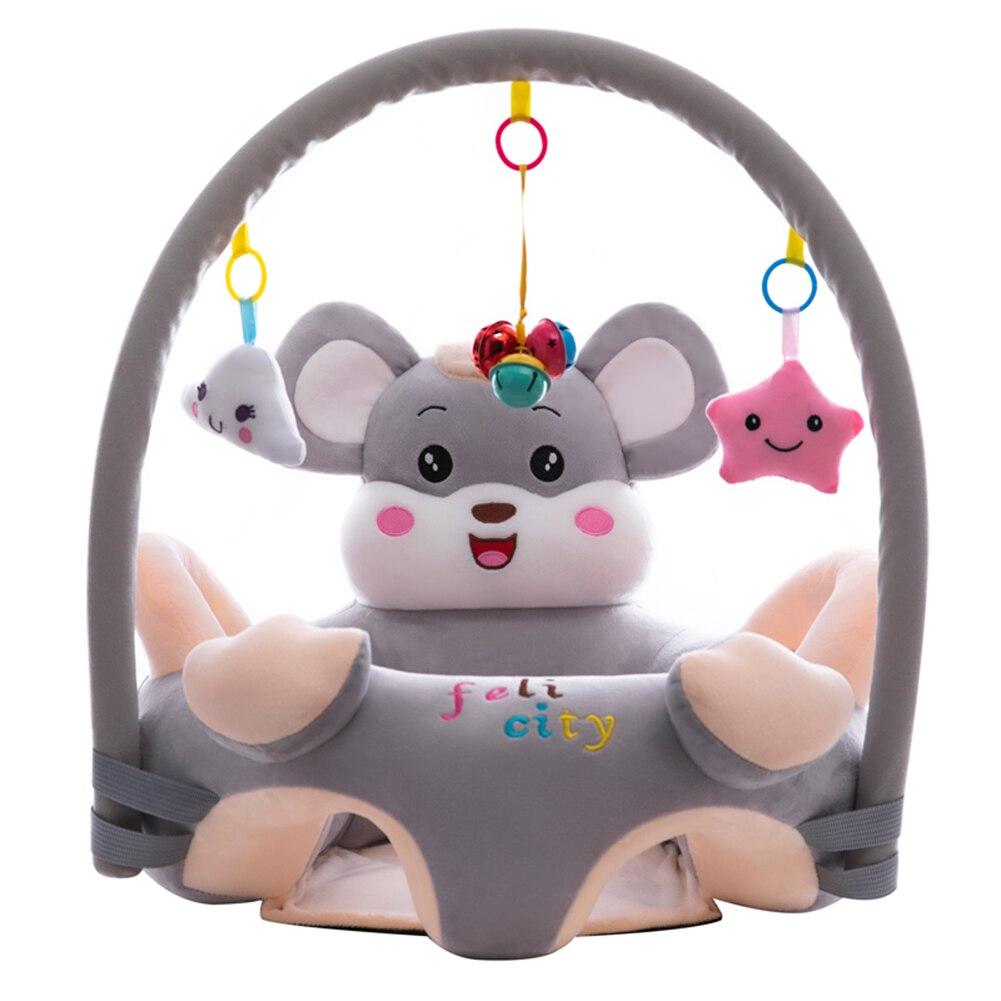 Moda infantil sofá capa de assento respirável veludo assento do bebê suporte cadeira dos desenhos animados brinquedo animal para crianças aprendendo sentar sem estofamento
