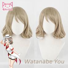 【You watanabe】 가발 러브 라이브 선샤인 코스프레 가발 금발 합성 머리 와타나베 유 코스프레