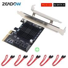 PCI Express 3.0X4 5 พอร์ตSATA III 6Gbpsการ์ดขยายตัวสนับสนุนพอร์ตMultiplierสำหรับHDD SSD 5xข้อมูลสาย