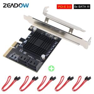 Image 1 - PCI Express contrôleur dextension 3.0x4 à 5 ports SATA III, 6Gbps, carte dextension, multiport pour HDD SSD, avec câbles de données 5x
