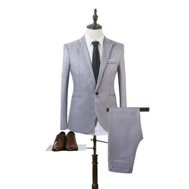 Costume Homme Mens Blazer Suit Ensembles Slim Tuxedo Coat Pants Formal Evening Dinner Wedding Groom 4