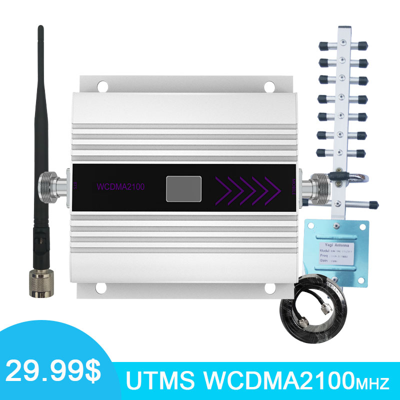 WCDMA 2100MHz Cell Phones Signal Repeater Booster Amplifier Band 1 LCD Display Yagi+Whip Antenna Coaxial Cable *10M -
