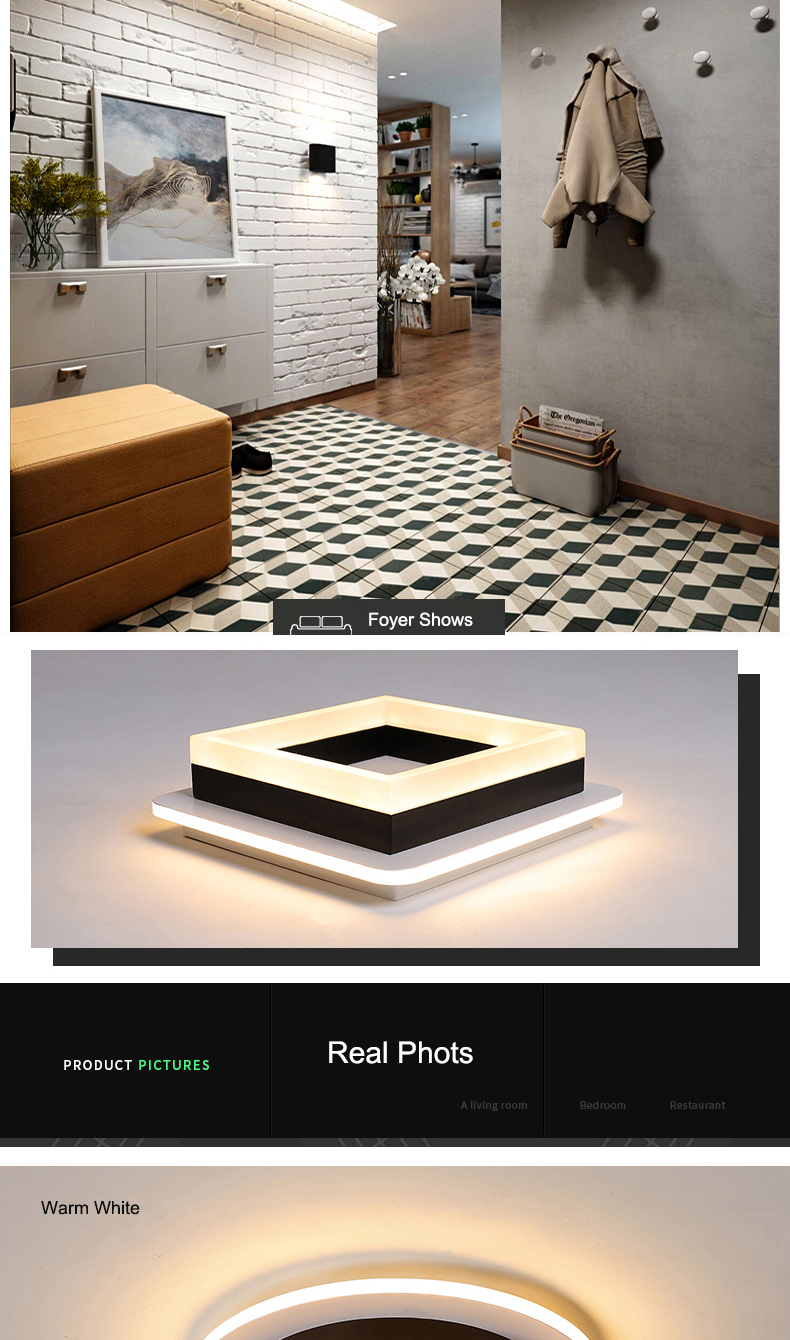 H09939f56ae4b44e79840ab234b22048dP Modern Led Ceiling Lights For Hallway Porch Balcony Bedroom Living Room Surface Mounted Square/Round LED Ceiling Lamp