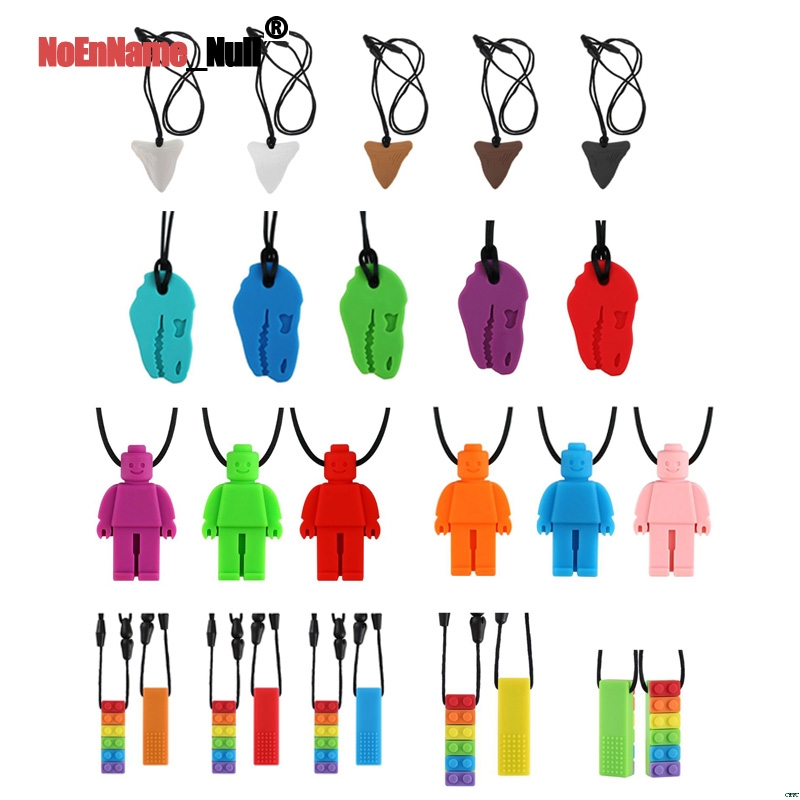 Baby Teether Rainbow Brick  Robot Sensory Chew Necklace For Teething Autism Biting Chewing Baby Care BPA Free Beads
