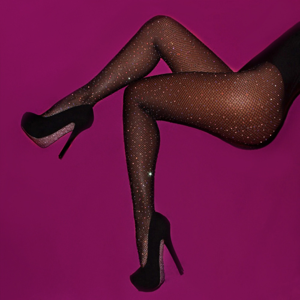 NORMOV Women Sexy Rhinestone Fishnet Shiny Pantyhose Panty Shiny Tights Women Nylon Flesh Light Black Pantyhose Tights