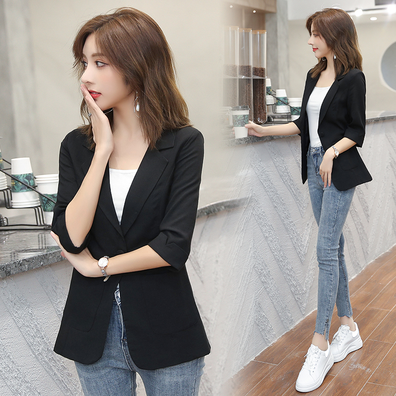 Women Solid Color Cotton Blazer Jacket Pleated Sleeve Coat Office Lady Work Style Small Suit Single Button Blazer
