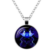 12 Constellation Sign Pendant Necklace Galaxy Constellation Design Horoscope Astrology Necklace For Women Men Glass Cabochon Jew(China)