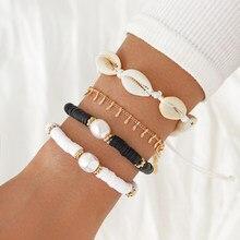 Modyle geometryczne warstwowe Charms bransoletki dla kobiet złota muszelka perła bransoletki z wisiorkiem zestaw Party biżuteria