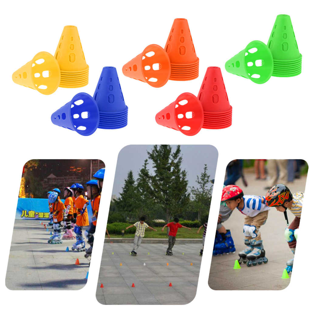 10 pçs plástico à prova de vento treinamento de futebol marcador esporte sinal de futebol balde triângulo obstáculos tráfego estrada cones trem tackles