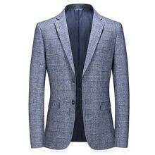 Мужской однобортный Блейзер однотонный хлопковый пиджак серого