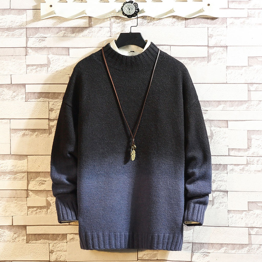 Mens Autumn Winter Casual Long Sleeve Gradual Change Wool Sweaters Tops Pullovers Mens Sweaters For 2019 Hot W1011