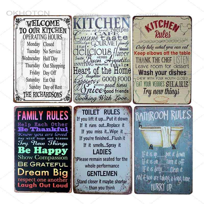 Vintage Aturan Keluarga Timah Logam Abstrak Huruf Kutipan Kamar Mandi Dapur Aturan Tanda Logam Dekorasi Poster Dinding Seni Gambar 20x30cm