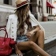 лучшая цена Boho Inspired white tweed blazer GOLD BUTTON BLAZER JACKET women FRAYED TWEED white jacket coat winter 2019 new chaqueta