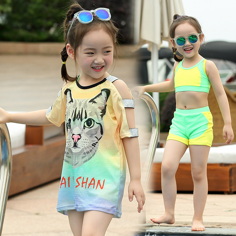 KID'S Swimwear WOMEN'S Swimsuit Sports Split Type Set Baby Bathing Suit Three-piece Set Cute Girls CHILDREN'S Big Boy