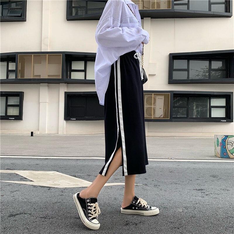 Photo Shoot Korean-style Suit Skirt Straight-Cut White Edge Slit Sports Casual Medium-length Black Dress 905272