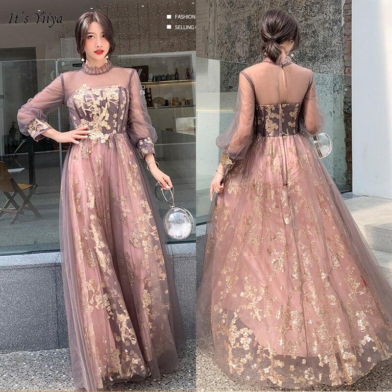 It's Yiiya Evening Dress High Neck Three Quarter Robe De Soiree Sequin Backless A-Line Floor-Length Women Party Dresses E1125