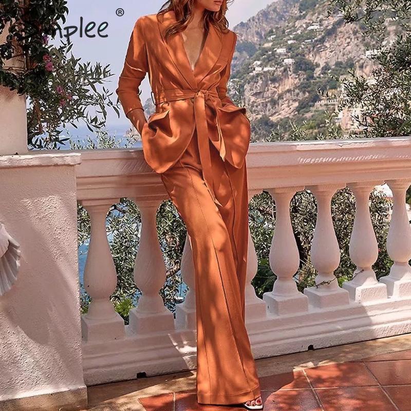 Simplee Fashion Office Ladies Blazer Suits Button Sash Lace Up Female Blazer Pants Set Autumn Winter Streetwear Women Work Suits