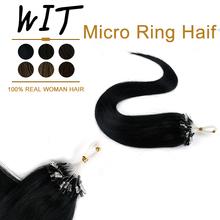 WIT 16 #8222 20 #8221 24 #8222 mikro pierścień doczepy z ludzkich włosów 50G maszyna wykonana Remy Microbead włosów brazylijski 1g 1s Fusion Microlink rozszerzenia tanie tanio Maszyna Stworzona Remy CN (pochodzenie) 1g strand Proste Pure color Brazylijski włosy Ciemniejszy kolor tylko