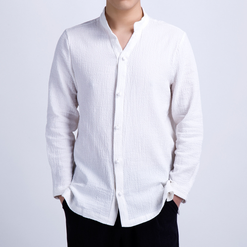 Spring Summer New Style Chinese-style Youth Men'S Wear Linen Shirt Cotton Linen Frog MEN'S Long-sleeved Shirt