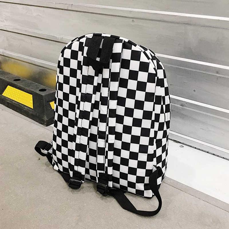2020 Unisex Plaid Nylon kobieta plecak turystyczny plecak na laptopa książka tornistry Feminina plecak szkolny kobiet torba Rugzak