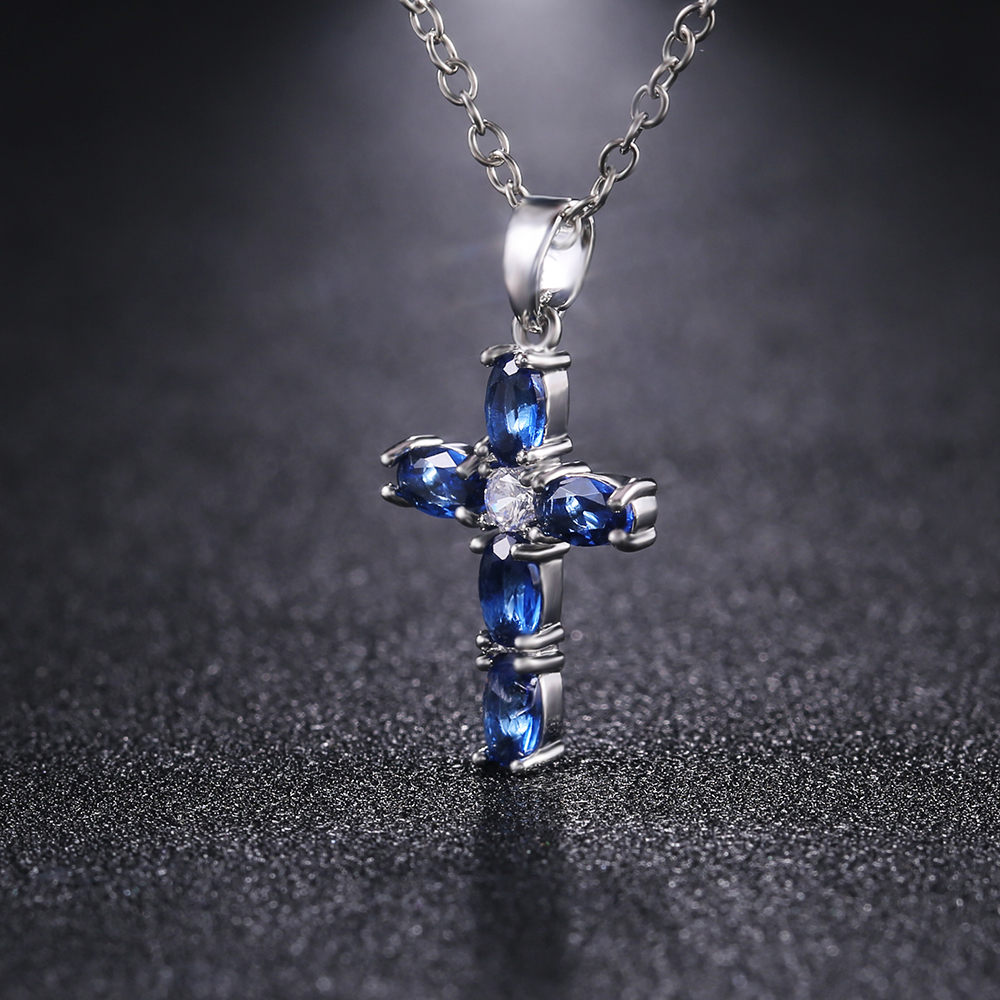 Huitan Fashion Oval Blue Stone Cross Pendent Delicate Women Necklace Daily Wear Anniversary Christmas Gift High Quality Jewelry