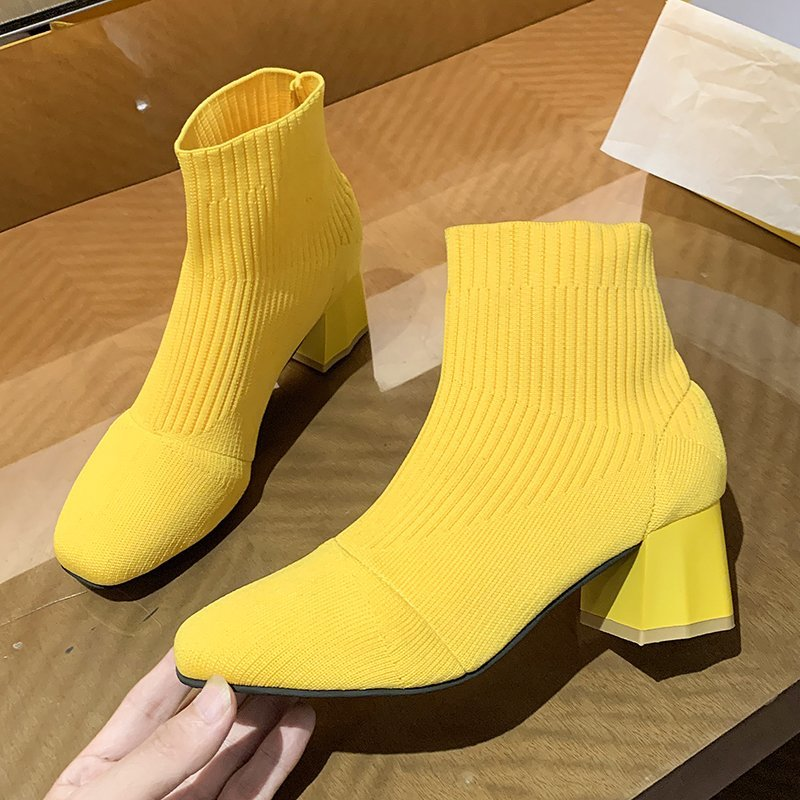 2020 Autumn New Womens Sock Boots Fashion Black High Heels Ankle Booties Women Casual Beige Square Toe knitting Shoes Woman