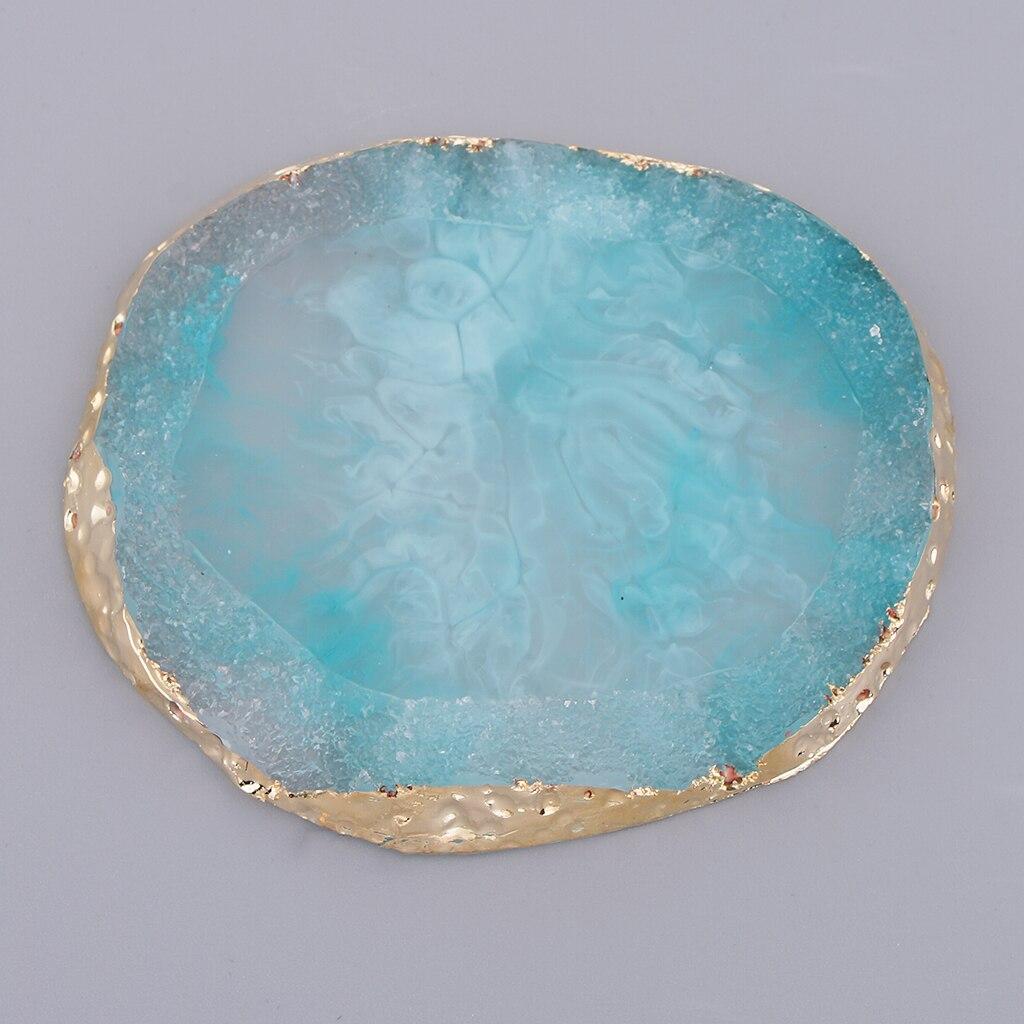 Круглая пластина с имитацией золотого края из агата для подставок для дизайна ногтей подставки подвески под чашку