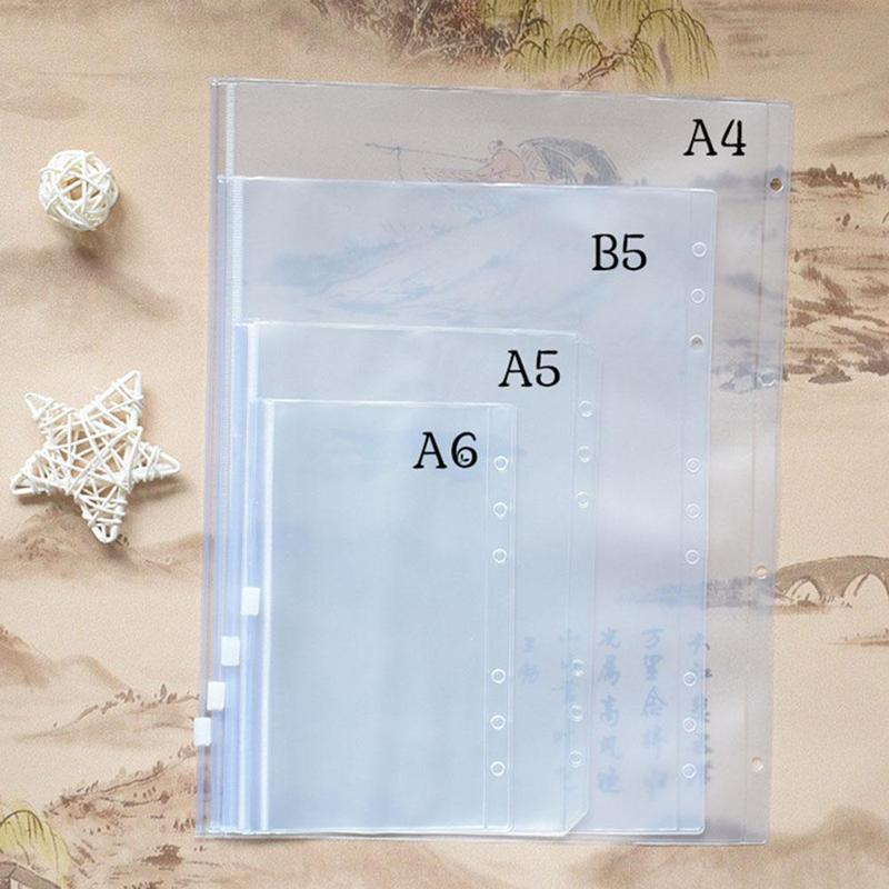 A5 A6 Spiral Pvc Zipper Bag Notebook 6 Hole Inner Core A5 A6 Plastic Pvc Zipper Bag Document Organizer Carpeta Archivador