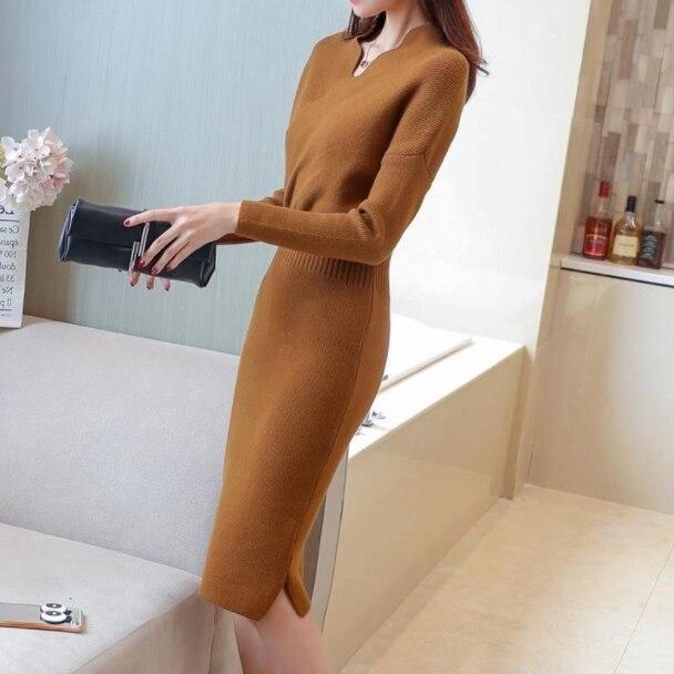 Utumn Mùa Đông Áo Len Dệt Kim Đầm Nữ Dài Tay Áo Thun Cổ Đầm Kéo Femme Đan Nữ Dài Bodycon Đầm AQ859