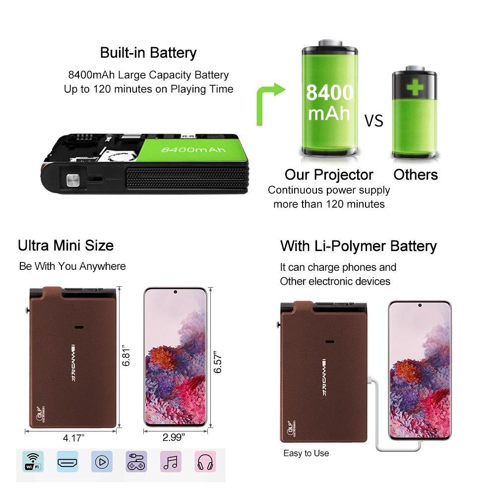 Caiwei s6w portátil bolso mini projetor dlp 3d led suporte completo hd vídeo wifi móvel beamer smartphone cinema em casa proyector-4