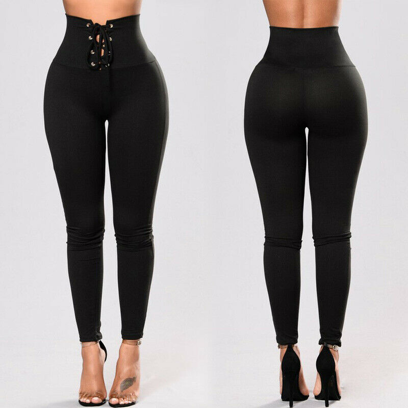 Casual Women's High Waist Bandage Slim Fashion Office Ladies Drawstring Ladies Pencil Trousers Elastic Long Pants