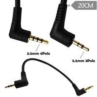 1 Uds 90 grados ángulo recto 3,5mm 4 polos macho a 2,5mm 3 polos auriculares para hombre Audio estéreo Aux extensor adaptador Jack Cable 20cm