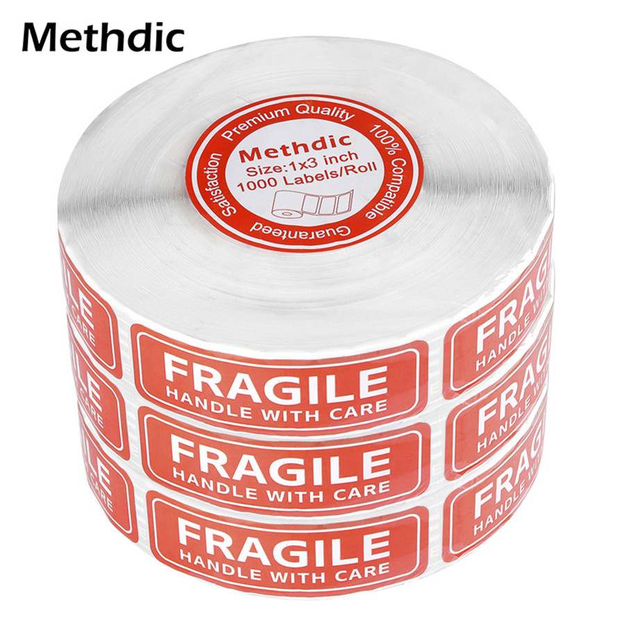 1000labels/roll Permanent Adhesive Fragile Stickers With Care Warning Label