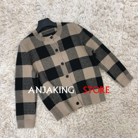 2020 Knitted Cashmere Cardigan Sweater Women's new High Quality Jacket Soft Waxy Cashmere Classic Plaid Cardigan